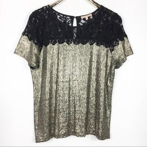 Gibson Latimer Gold Sequin Black Sheer Lace Top M
